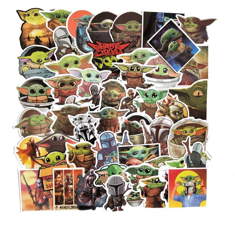 50pcs Cartoon Baby Yoda Star Wars The Mandalorian Stickers Waterproof PVC
