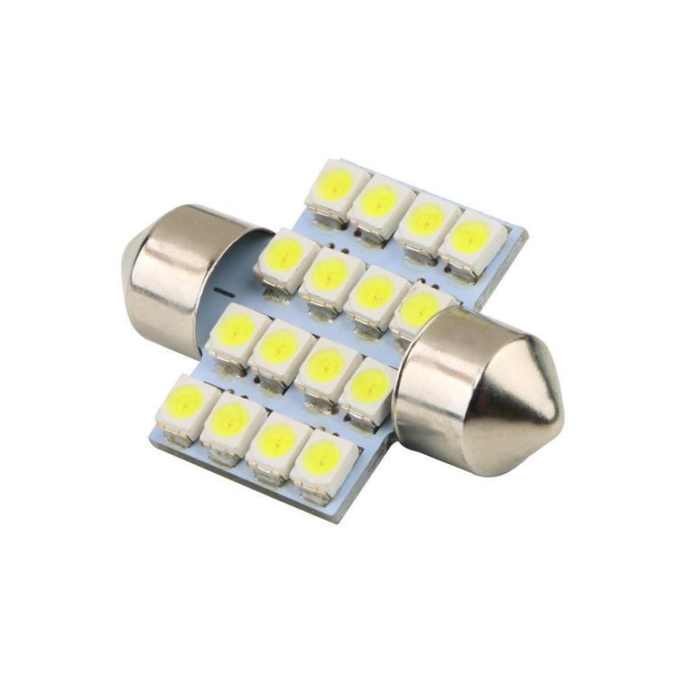 16 SMD LED 1210 31mm Auto Interior Domo Bombilla de adorno L/ámpara de lectura de luz de coche Blanco DC 12V L/ámpara de veh/ículo Fuente de luz de puerta