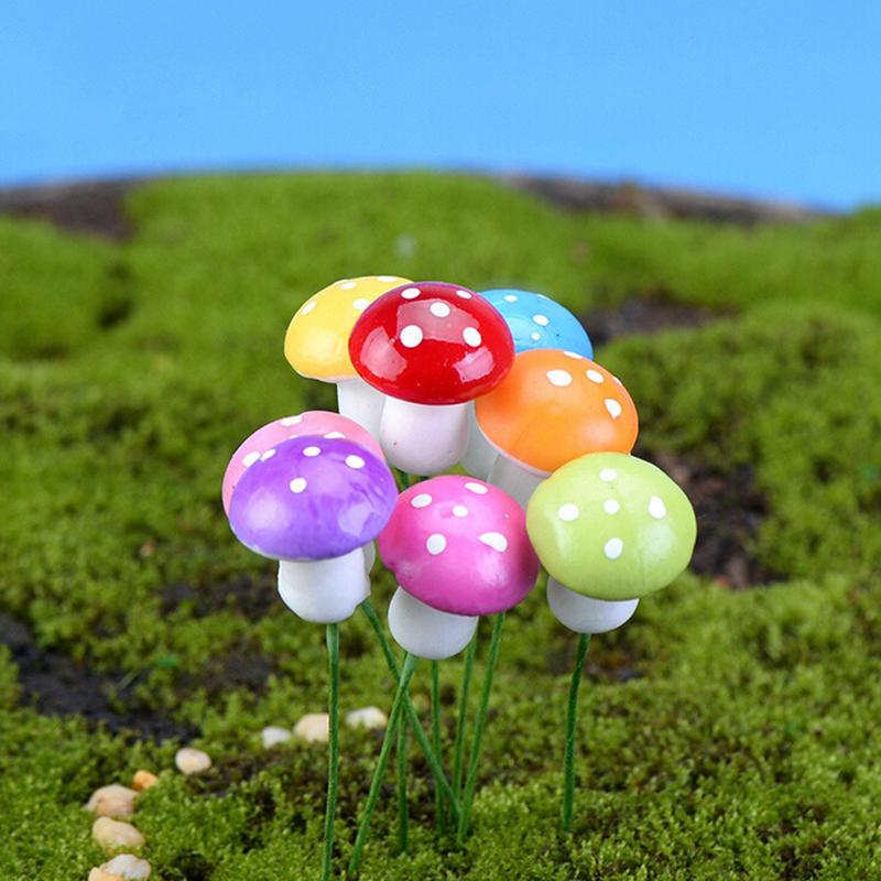 DIY 100X Mini Red Mushroom Garden Ornament Miniature Plant Pots Fairy Dollhouse