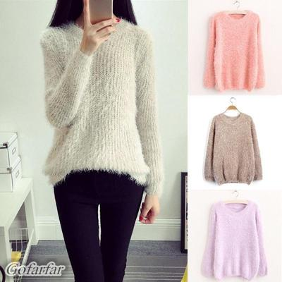 Autumn Winter Warm Mohair O-Neck Women Pullover Long Sleeve Casual Loose Sweater  Knitted Tops ad8496b821c4
