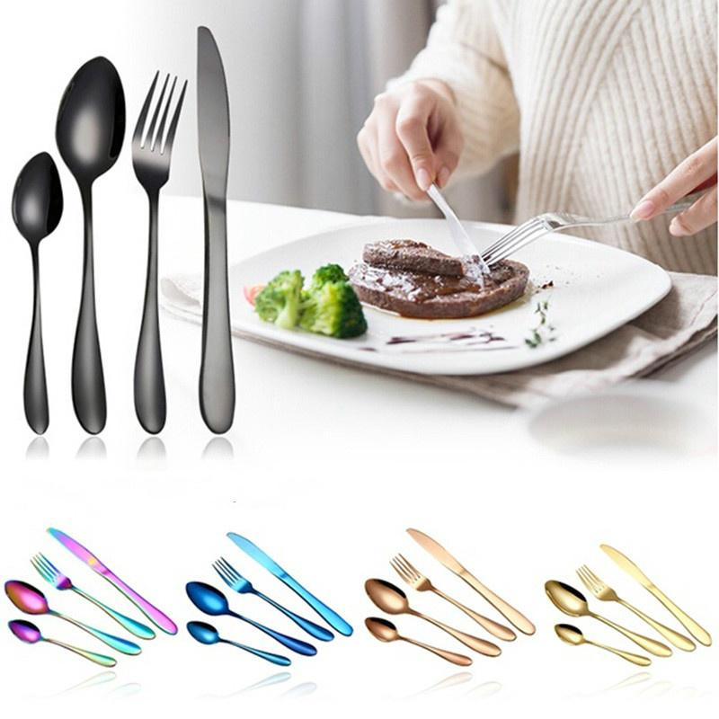4 шт / Rainbow золото покрытием посуда набор из нержавеющей стали столовые приборы набор – купить по низким ценам в интернет-магазине Joom