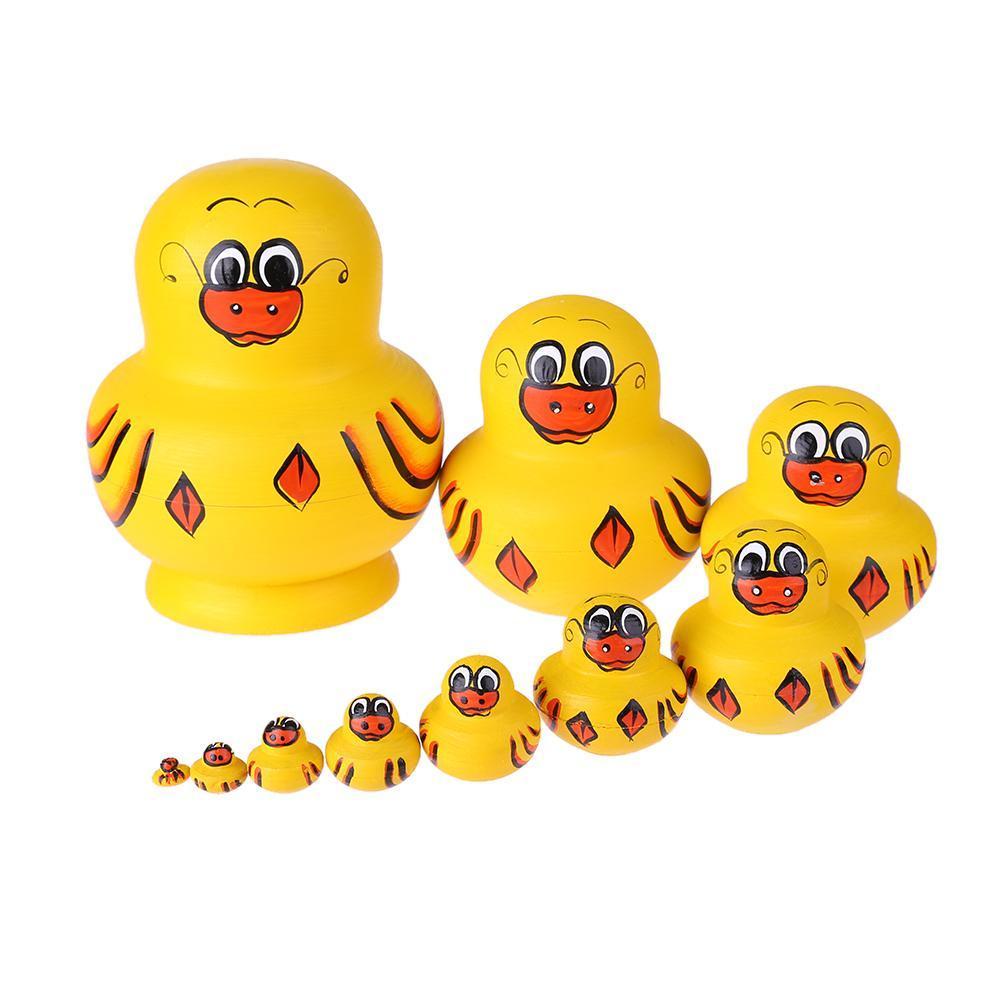 10pcs//Set Duck Pattern Russian Matryoshka Dolls Wood Nesting Toys Gift Decor