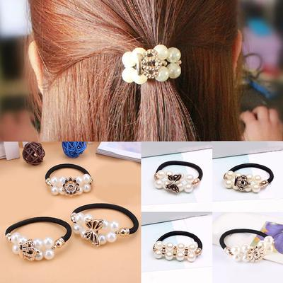 1pcs Pearl Rhinestone Elastic Hair Rope Women Ponytail Holder