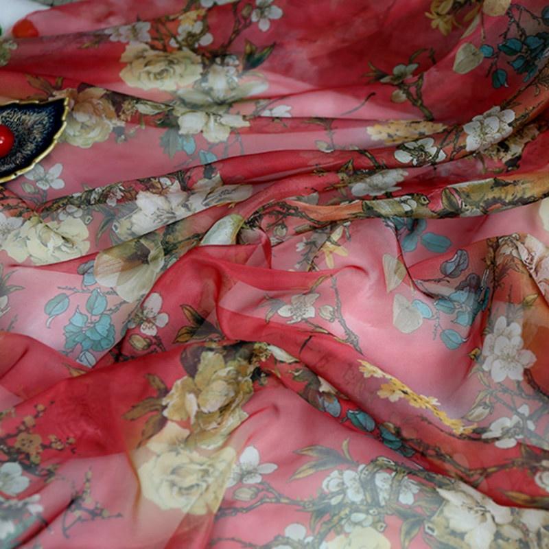 Last piece 1.5 m Designer silk fabric roses chiffon fabric Black silk fabricfloral silk fabric
