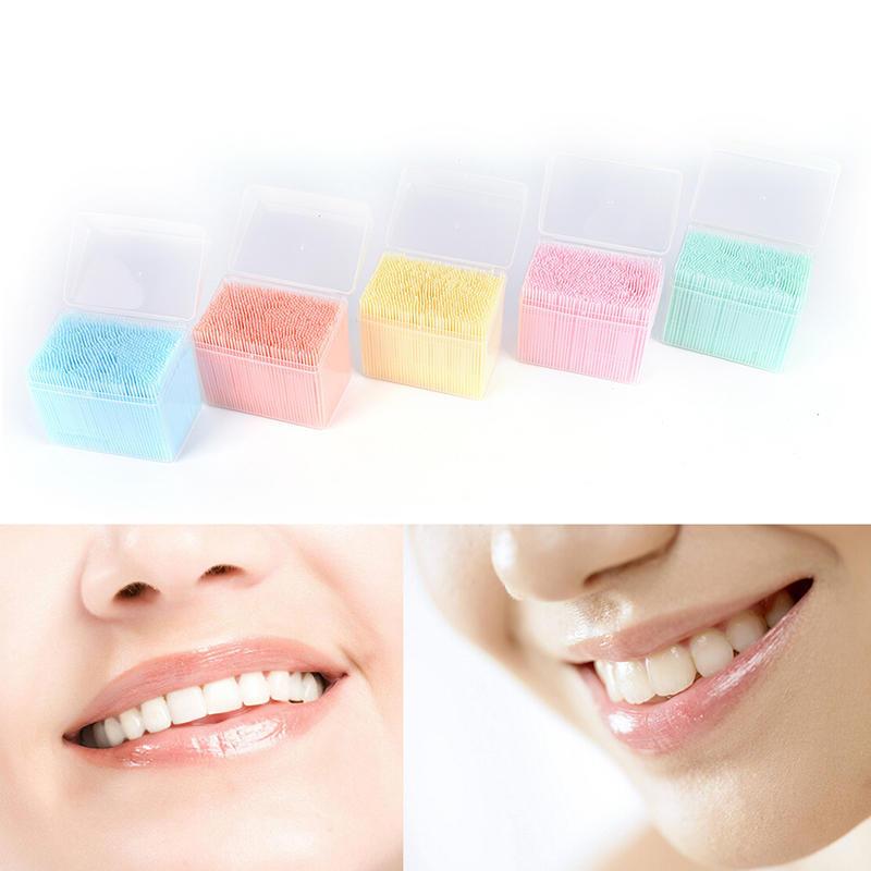 1100Pcs selecciones de plástico Dental higiene bucal 2 forma ... 6e219a89677c
