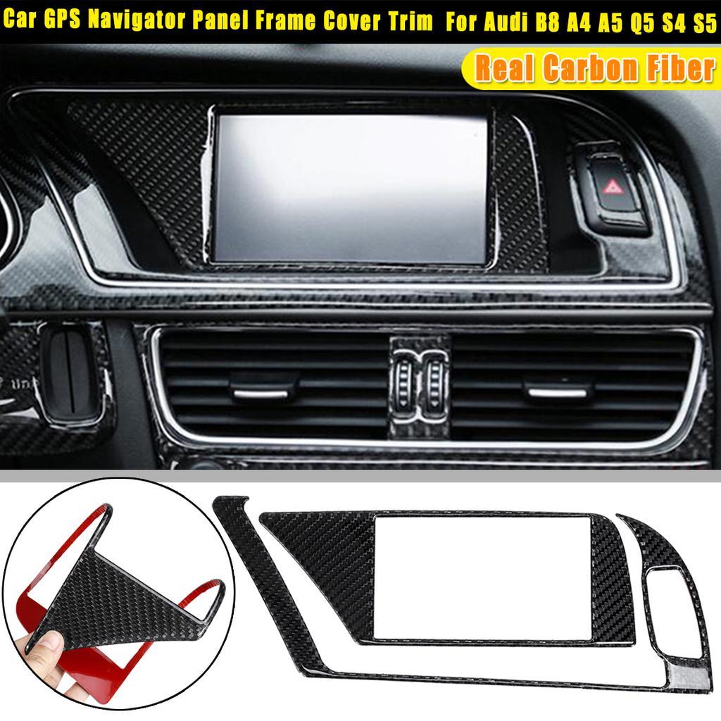 Carbon Fiber Inner GPS Navigator Panel Trim Frame Cover For Audi B8 A4 A5 S4 S5