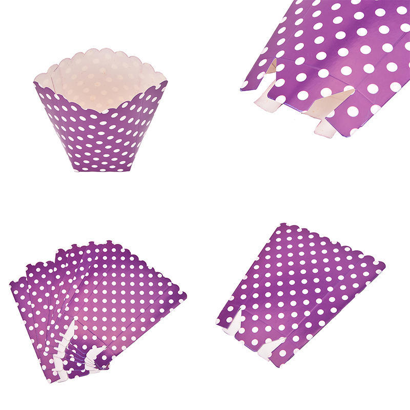 6 Popcorn TREAT BOXES Polka Dots Spots Birthday Party Favour Loot Paper Bags