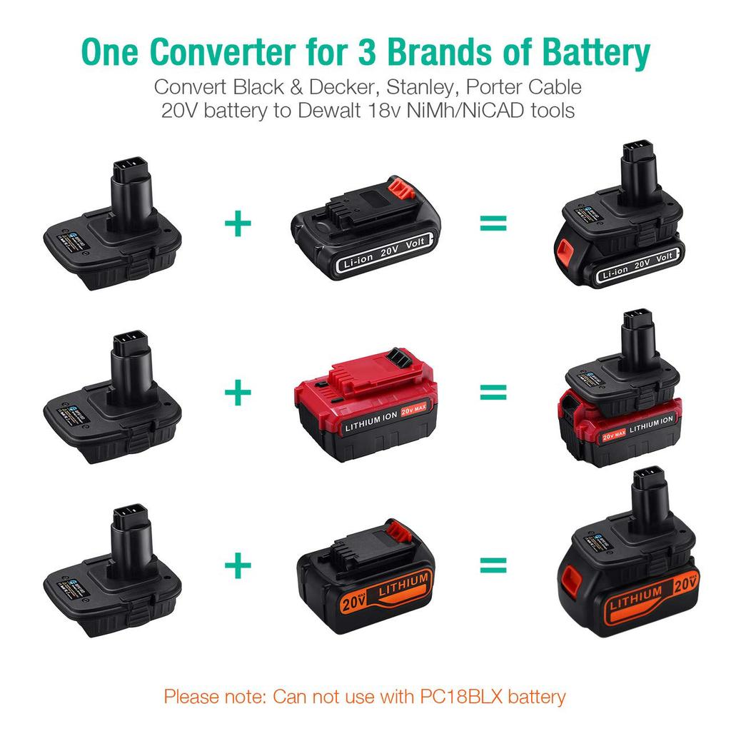 Adapter For Black/&Decker Stanley Porter Cable Battery Convert to PORTER CABLE