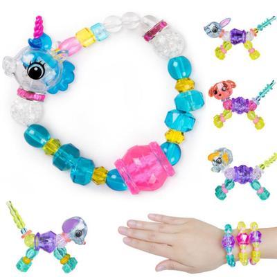 Cartoon UNICORN Pearls Bracelet Stretch Bracelet For Kids Grils