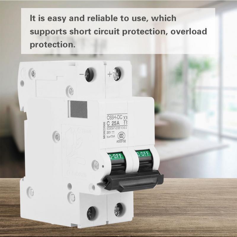 2P 250V Low-voltage DC Miniature Circuit Breaker For Solar Panels Grid System Din Rail Mount 16A C65H-DC