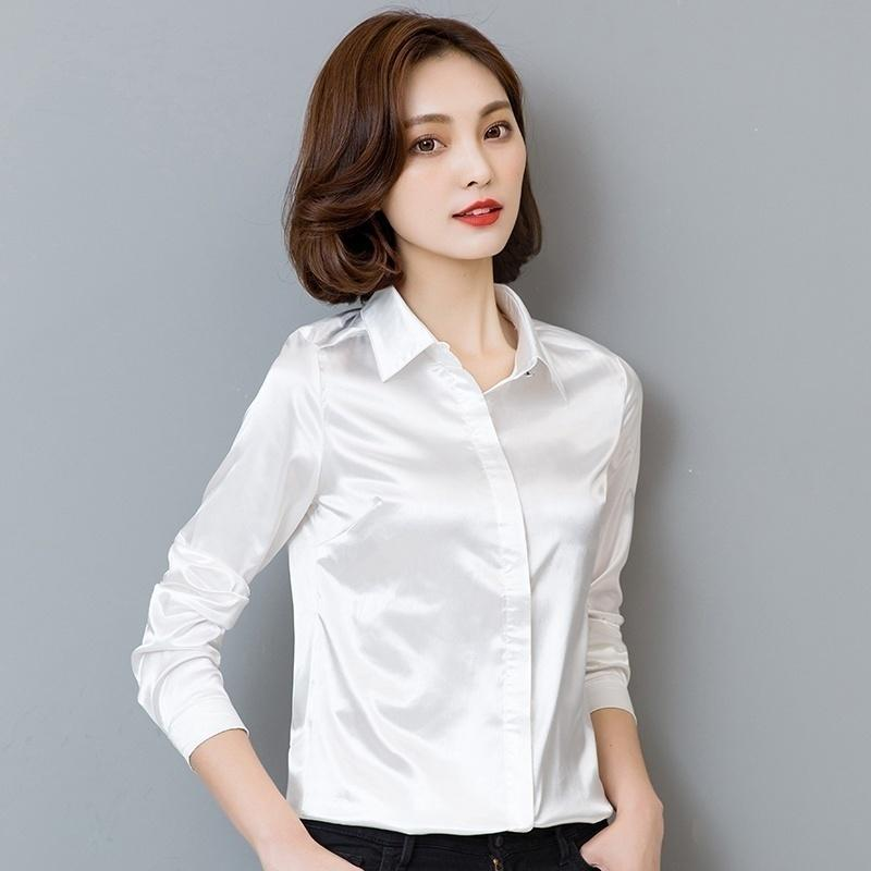 Casual Women Long Sleeve Bow Tie Button Down Fit Work Office Shirts Top Blouse White