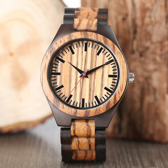 ca840c46a67 Relógio de madeira dalbum natureza relógios homens quartzo pulseira ...