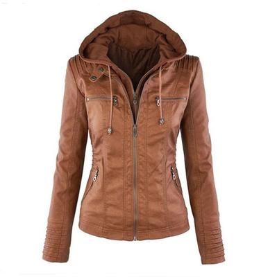 Moda otoño invierno manga larga cremallera delgada cuero con capucha  chaquetas abrigo de mujer Plus tamaño 8f9b0fda6288