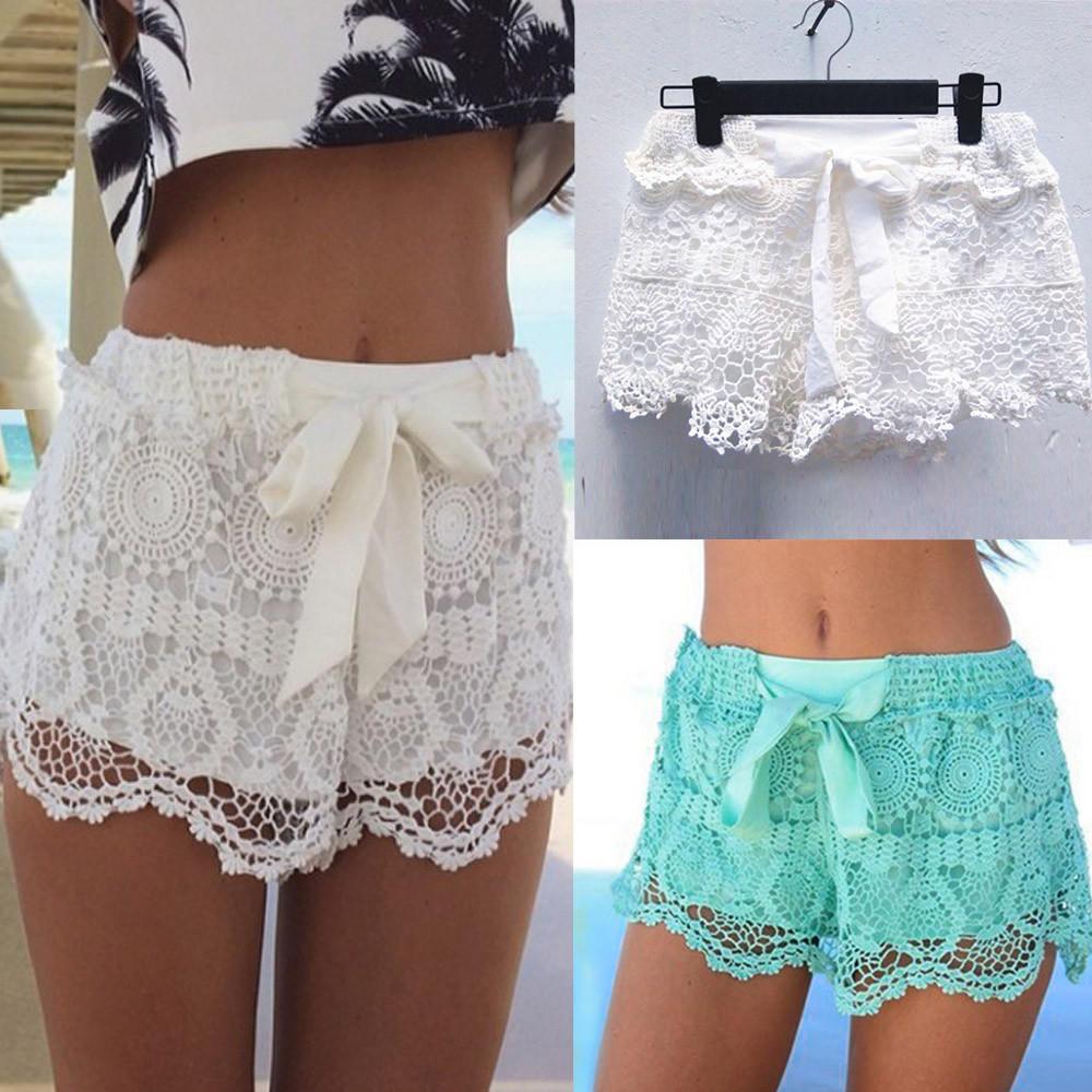 UK STOCK Women Lace Crochet High Waist Casual Loose Beach Hotpants Mini Shorts