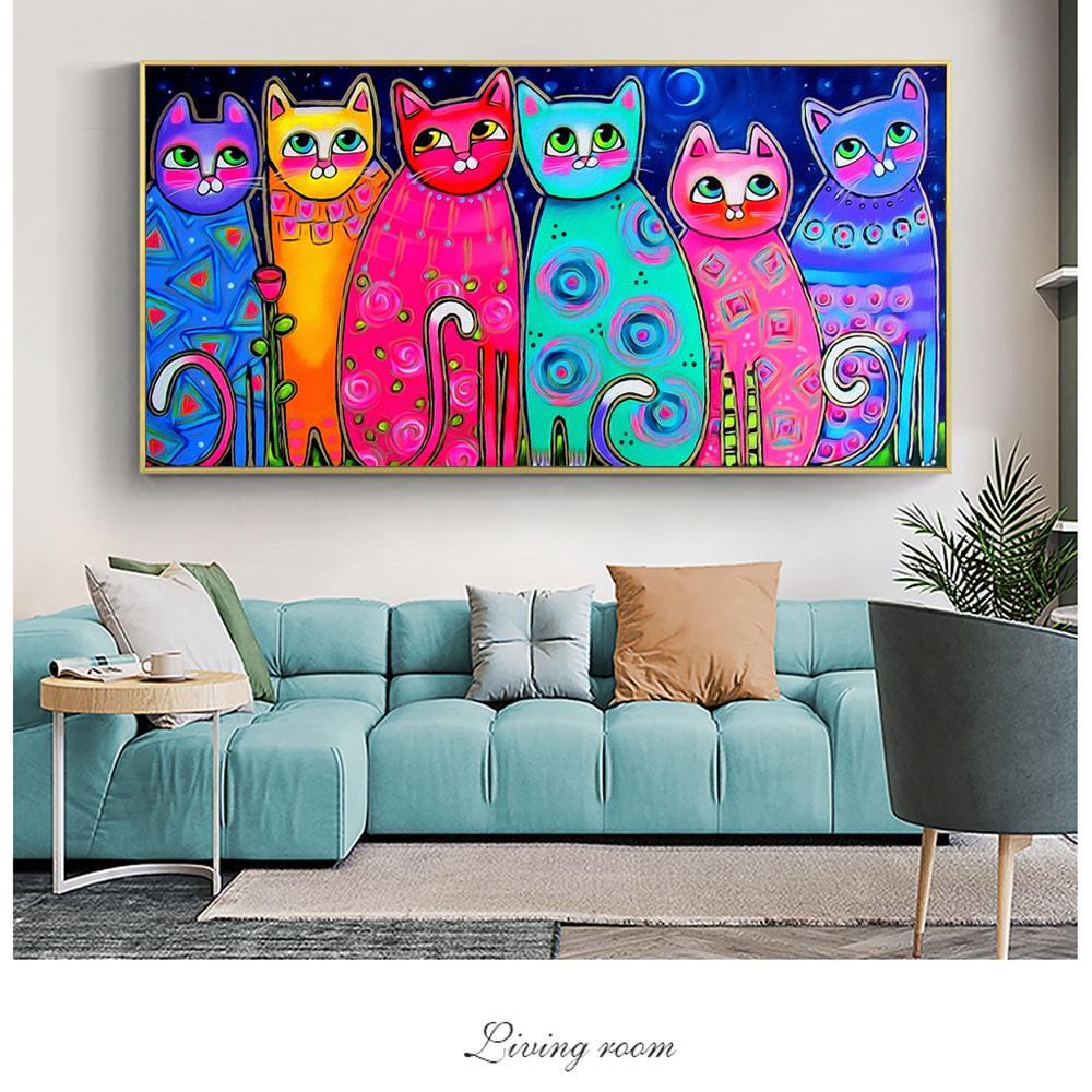 Красочные кошки холст картины для детской комнаты настенные плакаты и принты современное искусство декоративная холст картина Куадрос домашний декор – купить по низким ценам в интернет-магазине Joom