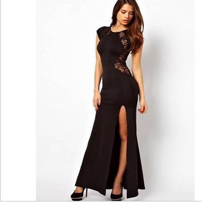 Girls  Long Slim Sexy Backless Hollow Round Neck Skirt Black Lace Thin Nightclub  Party Split 3455eb8d665b