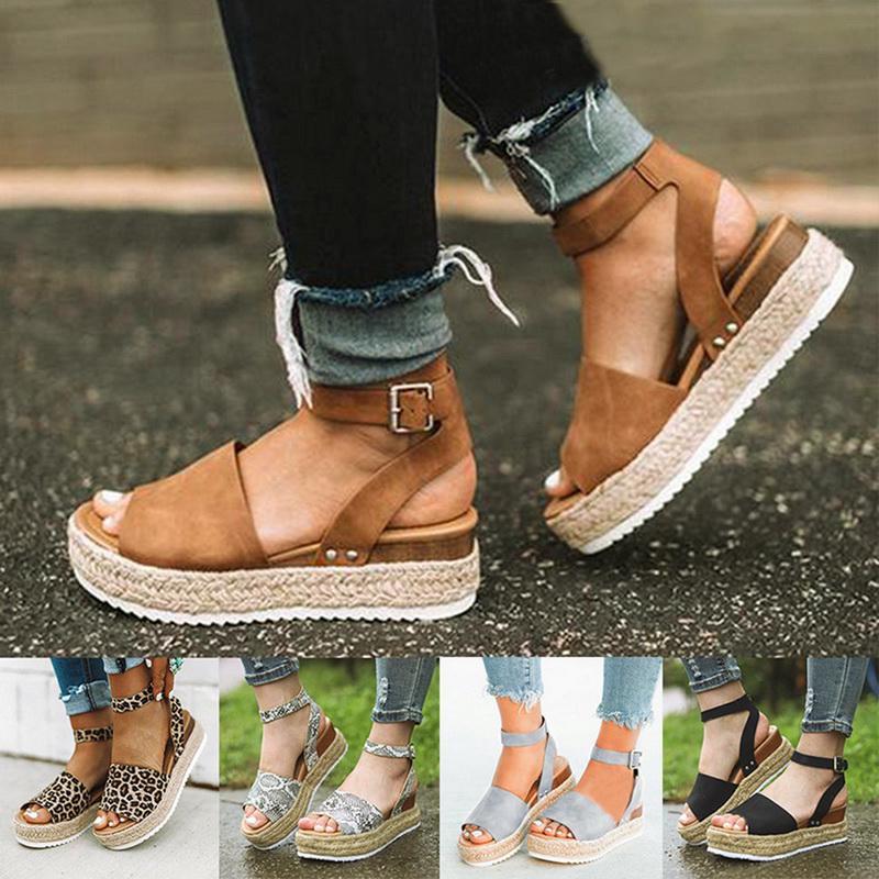 CHIC Retro Women Summer Ladies Canvas Wedge Round Toe Sandals Singles Shoes