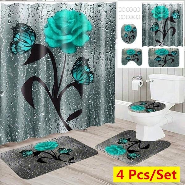 Waterproof Bathroom Shower Curtain, Flower Bathroom Sets