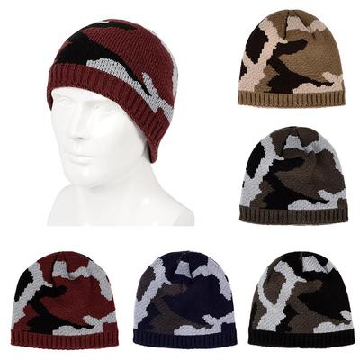 42dc287e505 Men Winter Thickened Fleece Lining Camouflage Knitted Hat Outdoor Warm  Beanie