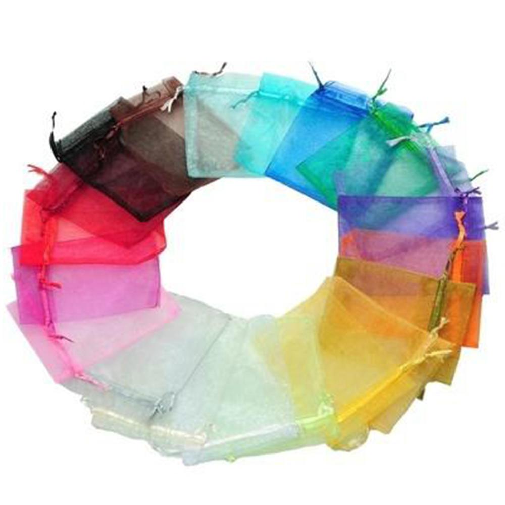 50个人电脑13 x16cm混合颜色透明硬纱珠宝礼物圣诞礼物袋袋