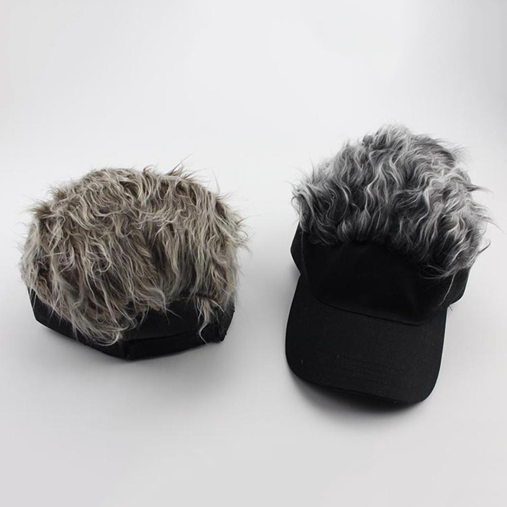 Fake Flair Hair Sun Visor Cap with Hair Wig Hats Novelty Baseball Caps Accessory