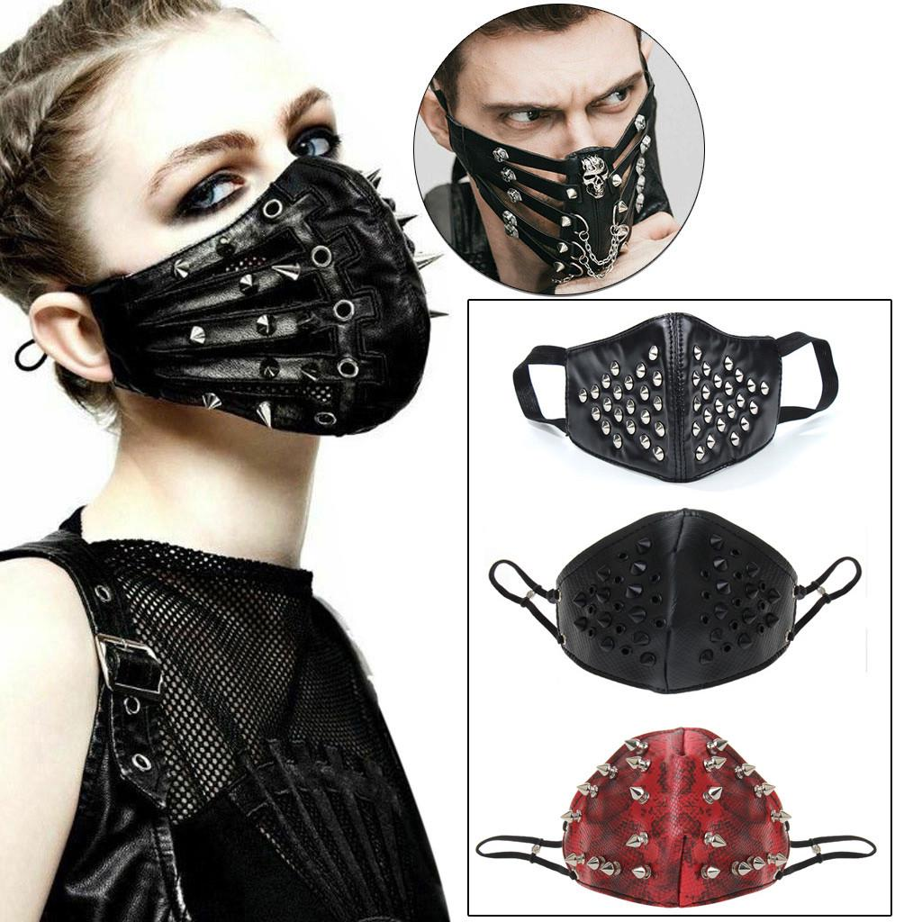 Real Leather Mask with Copper Spikes Punk Black