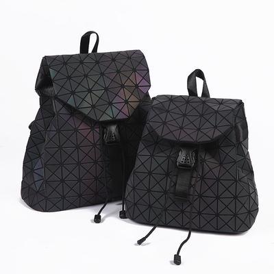 a1bf4f0307f1 Новые женщины лазерный световой рюкзак геометрические сумка складные сумки  студент школы