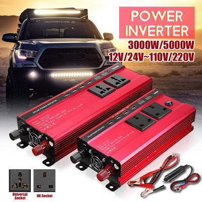 Car 5000W Solar Power Inverter Digital Display Phone 4 USB Charger Power Inverter DC 12V to AC 220V-240V Automotive Power Supply Converter Solar Power Inverter
