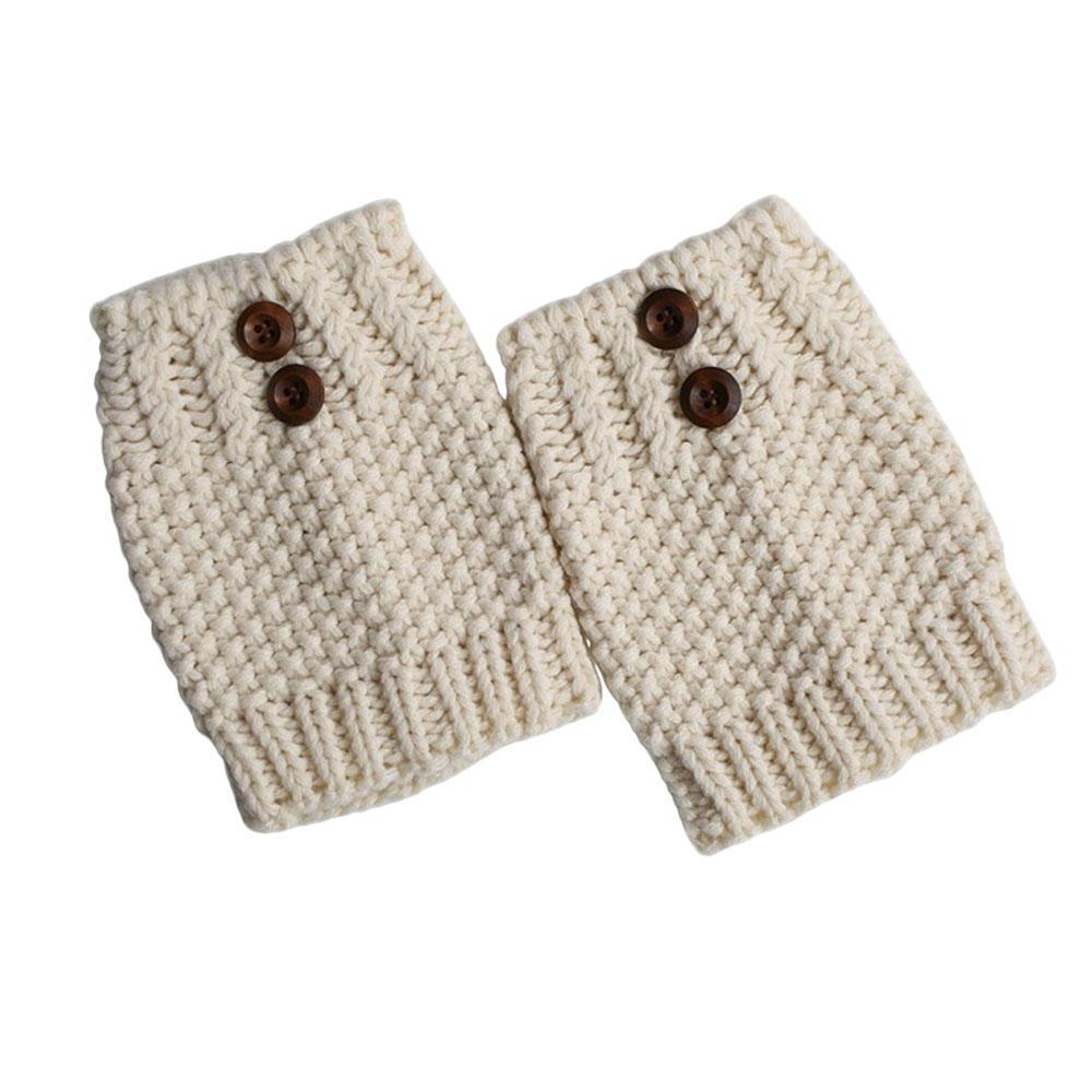 Calcetines de las mujeres corto botón ganchillo pata otoño invierno ...