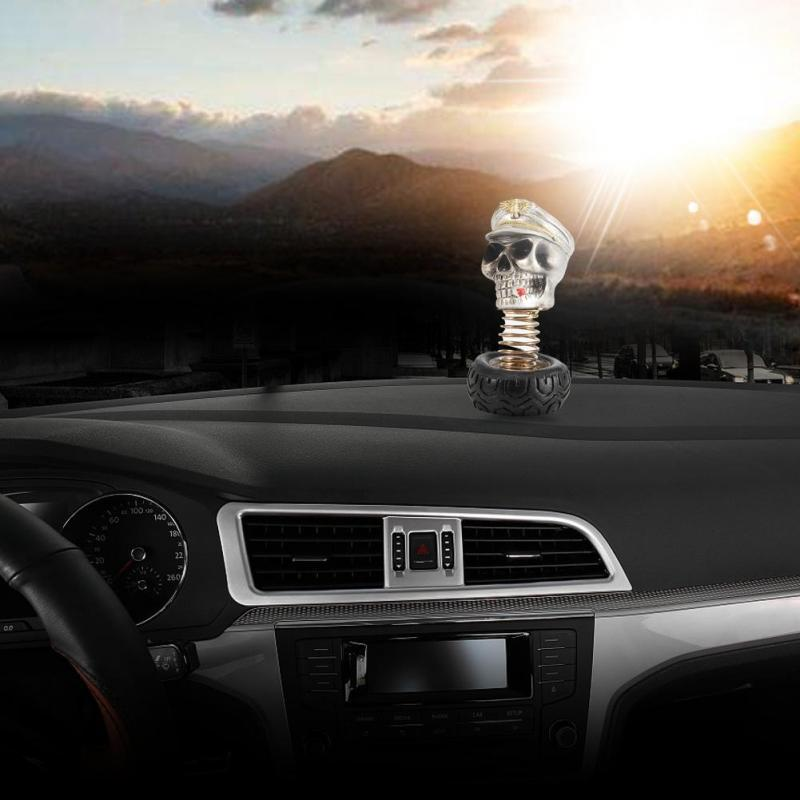 Skull Car Ornament,Car Interior Swing Waving Human Skull Decoration Dashboard Ornament Decor Accessories