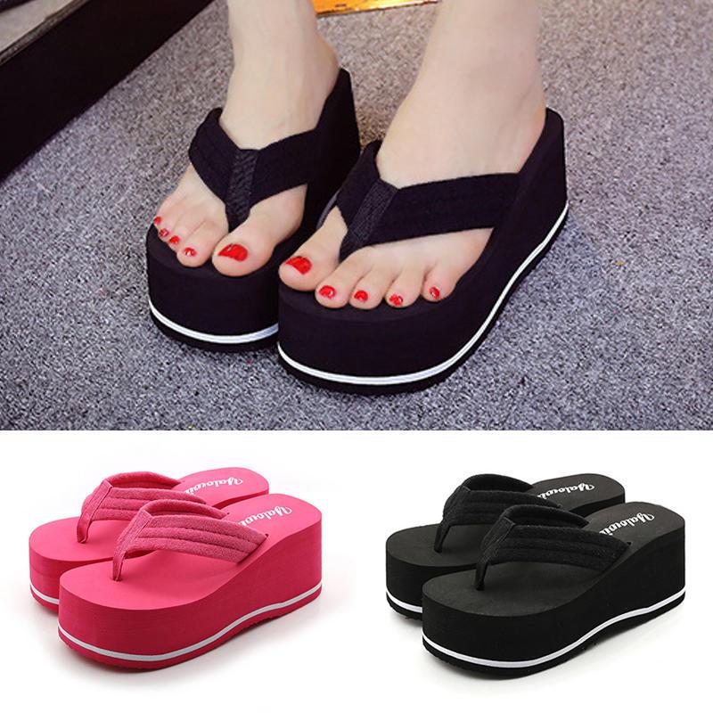 夏季时尚夹脚坡跟厚底松糕防水台凉拖鞋女沙滩鞋简约手工人字拖鞋