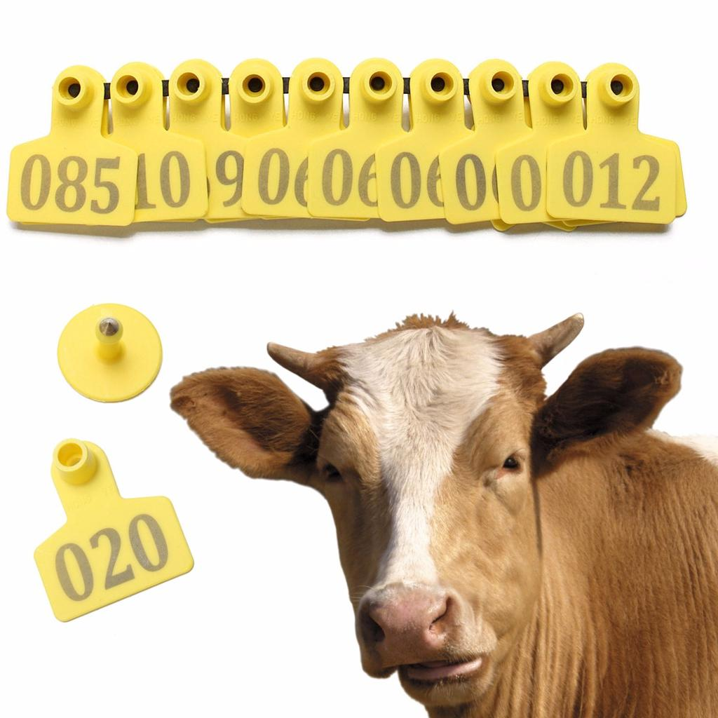 Green Cow Cattle Number Large Livestock Ear Tag Pack of 100Pcs 001-100