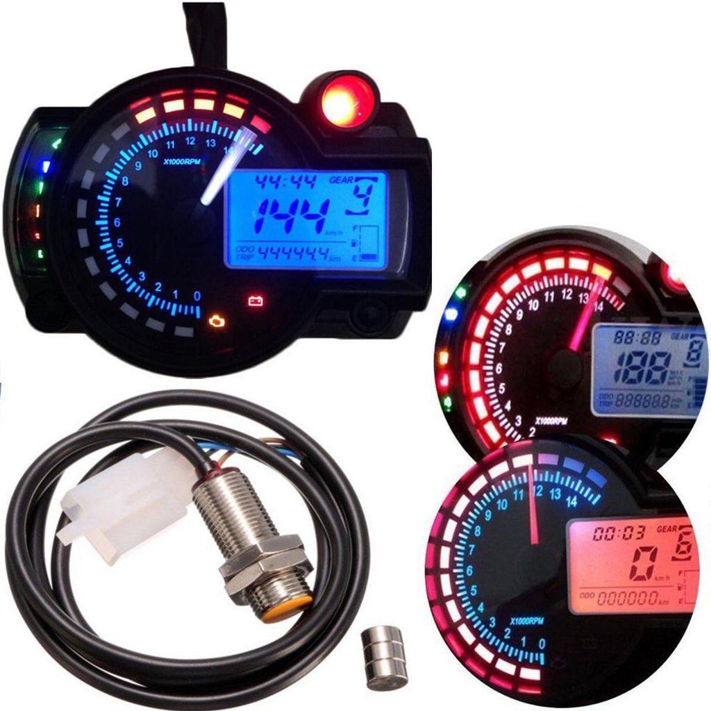 Tac/ómetro de motocicleta LED Tac/ómetro digital Medidor de velocidad RPM Tester DC 8-18V Azul