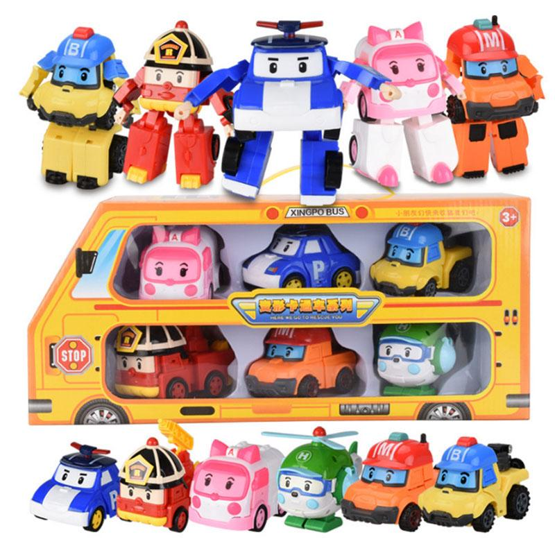 6Pcs Robocar Toys POLI ROY AMBER Robot Transformers Action Figure Car Toy