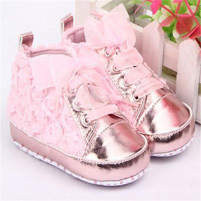 One Pair Baby Girls Autumn Shoes Toddler Soft Sole Pink Rose Flowers Children In