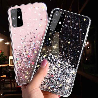 Bling Glitter Star Silicone Case For Samsung A21S A41 A11 A51 A71 5G A31 S21 S20 Plus Note 20 5G Shining Sequin Soft Clear Back Cover