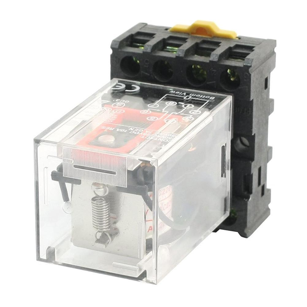 Mk2p I Transparent Shell Dpdt Ac220v Coil Power Relay Socket Base Electrical Electromagnetic Ac 220v