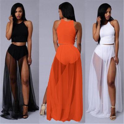 1d00145fc36f Sexy Women Side Split Mesh Skirt See-through Beach Party Mesh Maxi Skirts  Black
