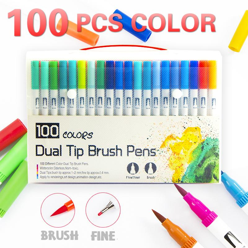 Twin Brush Watercolor Markers/& Fineliner Tip 80 Colors Manga Sketch Art Supply