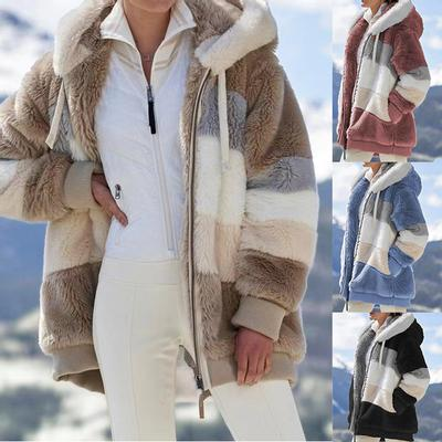 Women's Autumn and Winter Warm Loose Plush Multicolor Hooded Jacket