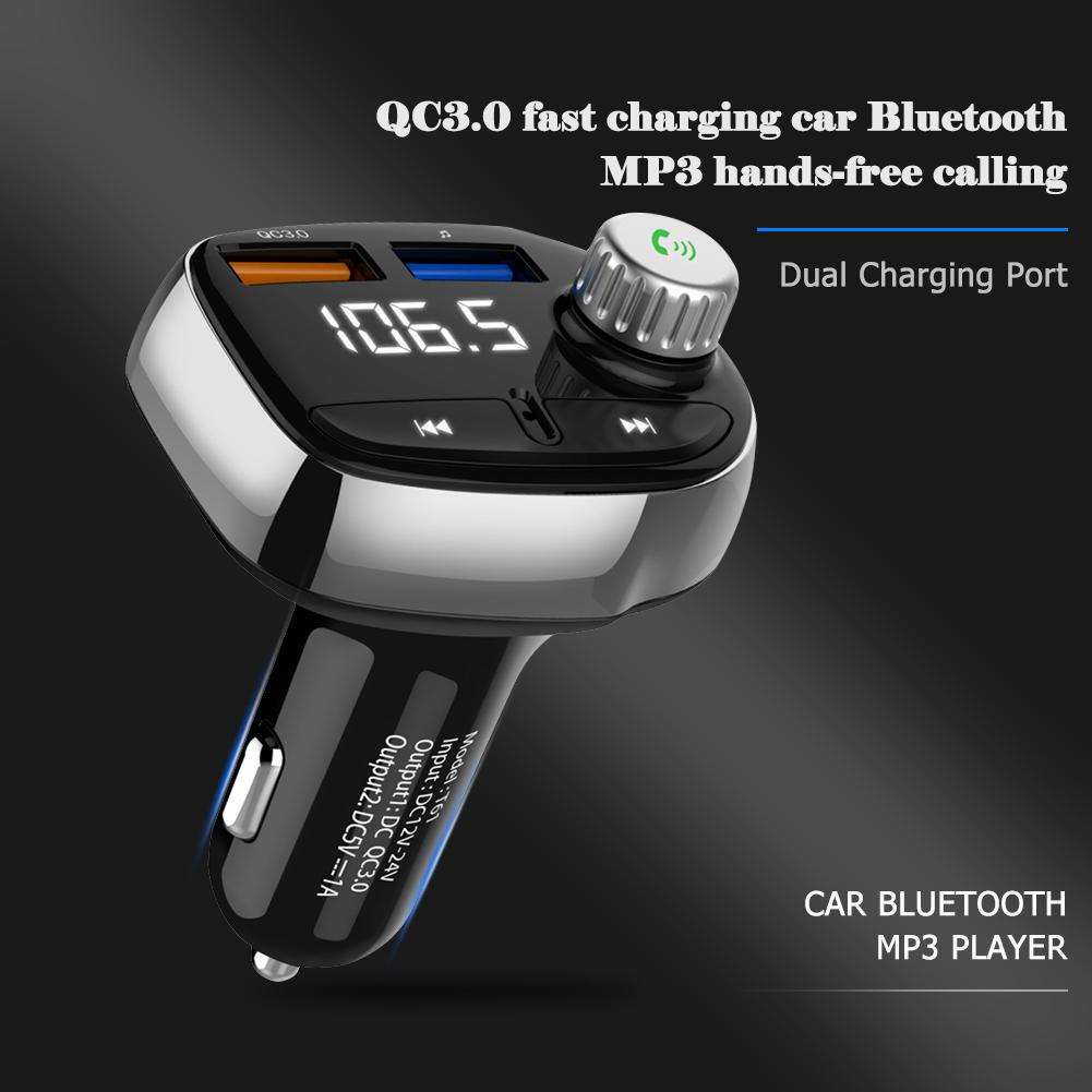 Wireless Hands-Free Q7 2USB Charge LED MP3 Bluetooth Car FM Transmitter With MIC