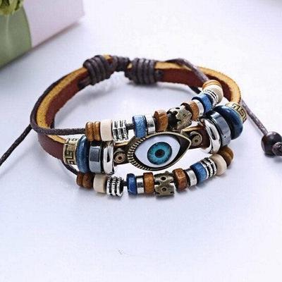 1pc Unique Rero Multilayer Eyeball Bracelet Uni Handmade Braid Leather Bangle Gift