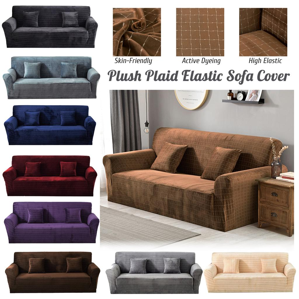 1//2//3//4 Elastic Sofa Cover Pillow Case Plush Plaid Solid Anti Slip Stretch Couch