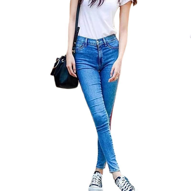 Tobillo Cintura Alta Blue Jeans Mujer Lado Rayas Patchwork Pitillo Casual Breve Invierno Pantalones Vaqueros Delgados Comprar A Buen Precio Precio 24 Eur Entrega Gratuita Resenas Reales Con Fotos Joom