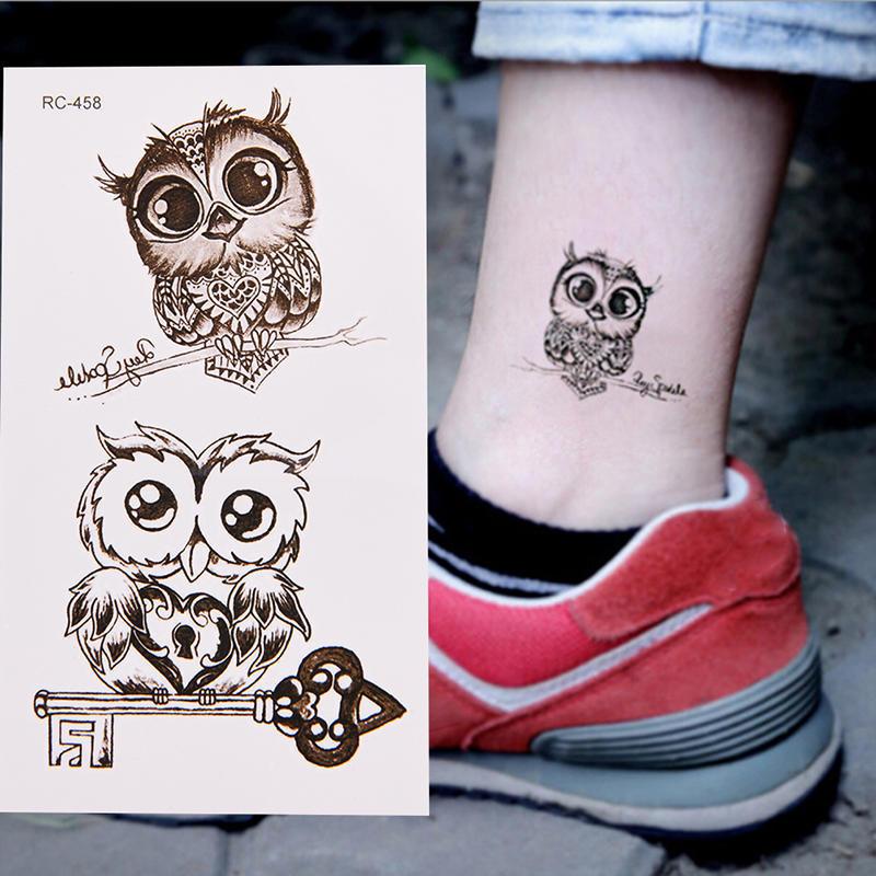 1pc Makeup śliczne Sowa Tatuaż Arm Body Art Wodoodporna Tymczasowy Tatuaż Naklejki