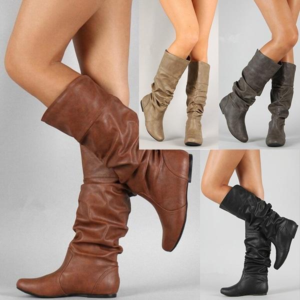 bastante agradable 49e56 3f27a Par de zapatos moda femenina zapatos retro cómodo informal invierno cálido  porciones delgado rodilla voluntad