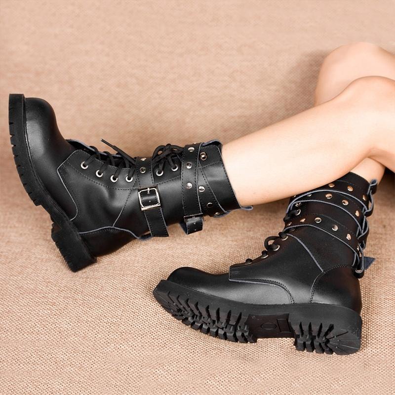 春秋新款英伦时尚马丁靴 韩版机车靴 铆钉皮带男女短靴 韩版女靴