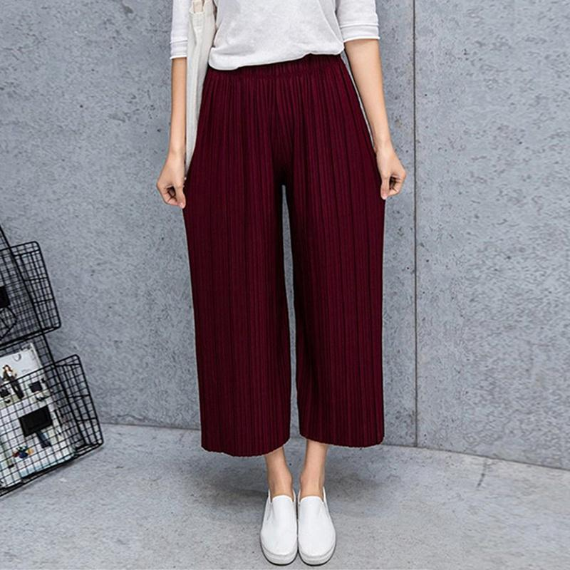 Summer Women Culottes Casual Harem Trousers High Waist Lace Up Pants Office Plus