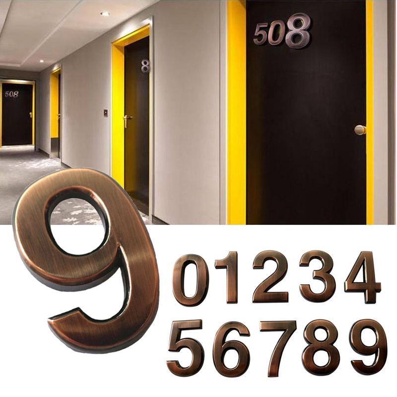 1шт дом адрес знак бронзового 0-9 двери чисел ABS пластика Self - Клей стикер квартира
