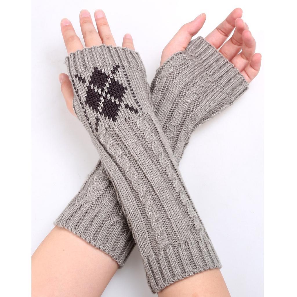 Las mujeres invierno brazo calentadores medio dedo guantes sin dedos ...